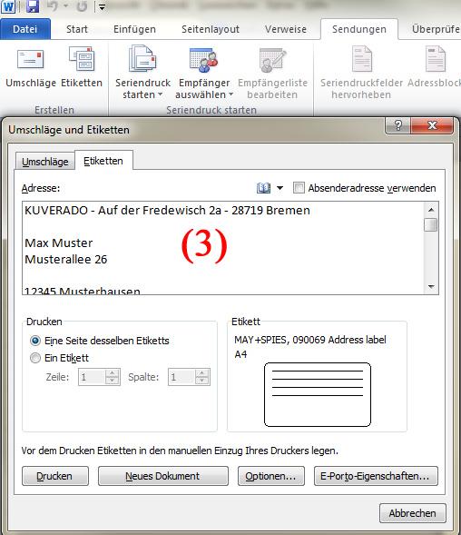 Adressetiketten für Briefumschläge mit Microsoft Word bedrucken - Teil 2 | BILD VERGRÖSSERN