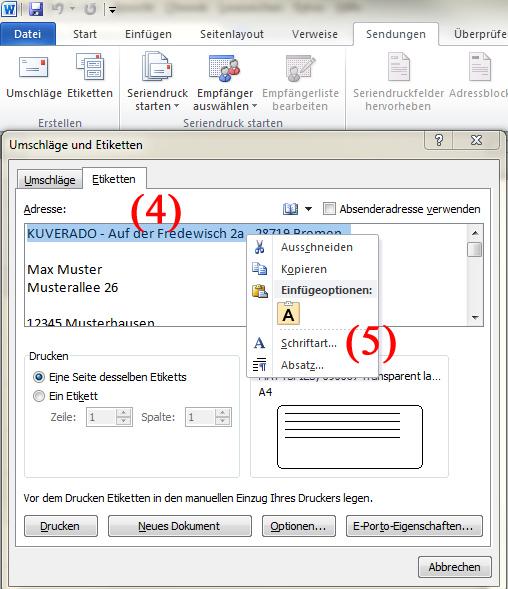 Adressetiketten für Briefumschläge mit Microsoft Word bedrucken - Teil 3 | BILD VERGÖSSERN
