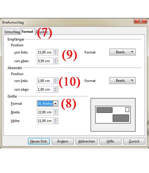 Briefumschläge mit OpenOffice Adressieren - Teil 3 | BILD VERGÖSSERN