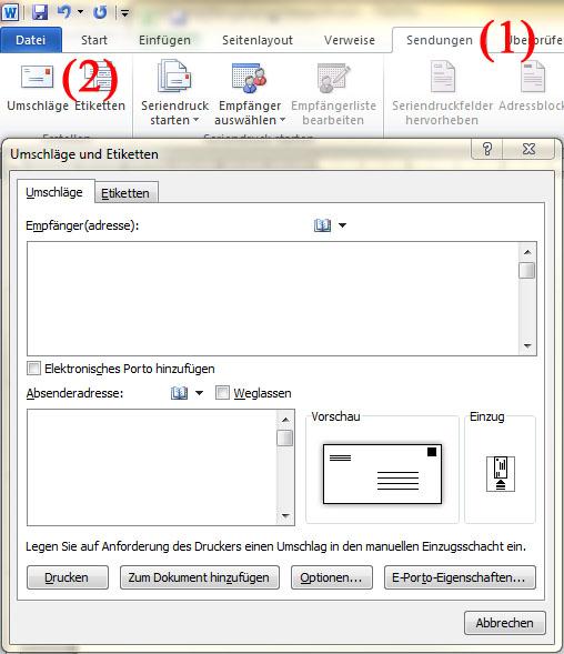 Briefumschläge mit Microsoft Word Adressieren - Teil 1 | BILD VERGÖSSERN