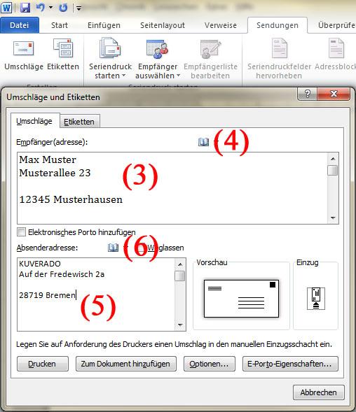 Briefumschlag Beschriften C5 : Briefumschläge mit microsoft word adressieren kuverado