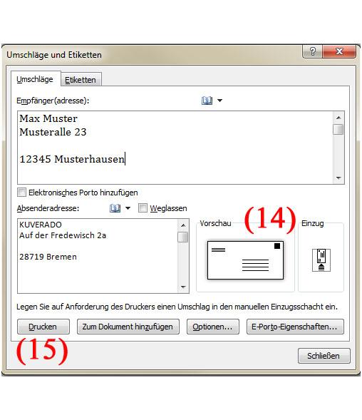 Briefumschläge mit Microsoft Word Adressieren - Teil 6 | BILD VERGÖSSERN