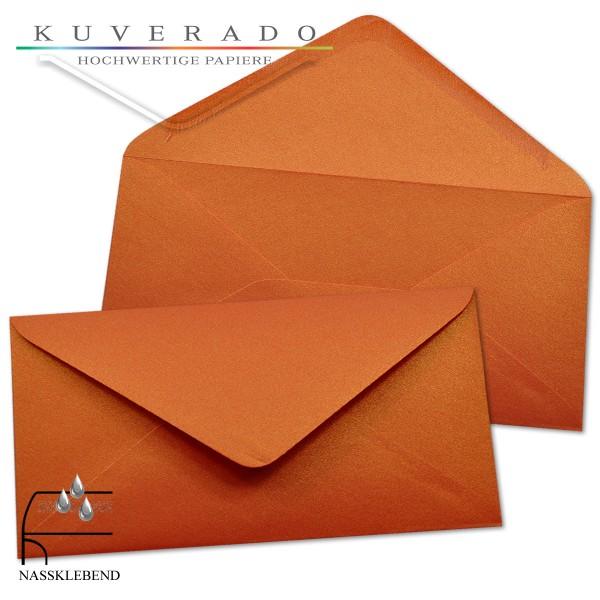 glänzende metallic Briefumschläge in orange im Format DIN lang