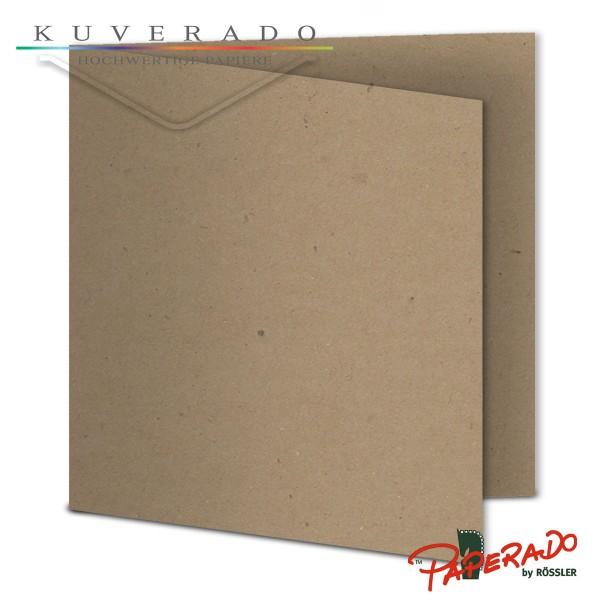Paperado Karten aus braunem Kraftpapier quadratisch