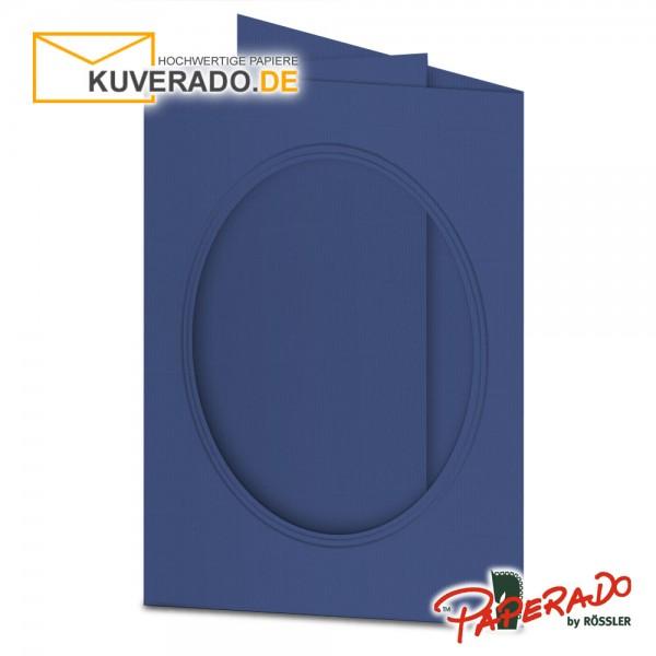 Paperado Passepartoutkarten mit ovalem Ausschnitt in jeansblau DIN B6