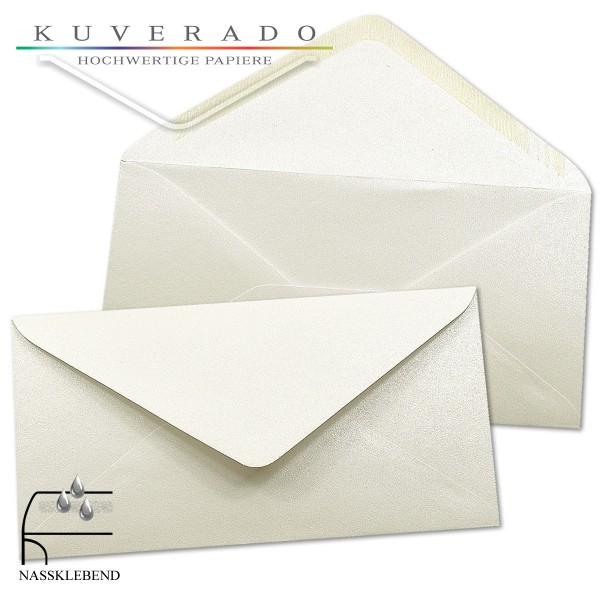 glänzende metallic Briefumschläge in weiß im Format DIN lang