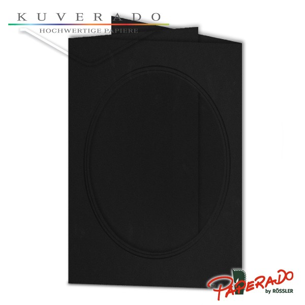 Paperado Passepartoutkarten mit ovalem Ausschnitt in schwarz DIN B6
