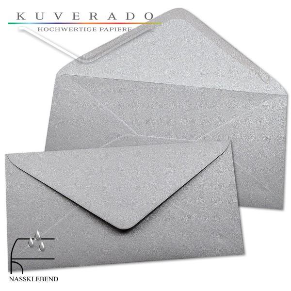 glänzende metallic Briefumschläge in silber im Format DIN lang