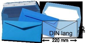 Briefumschläge DIN-Lang Blau Briefumschlag Kuvert Briefkuvert Umschlag
