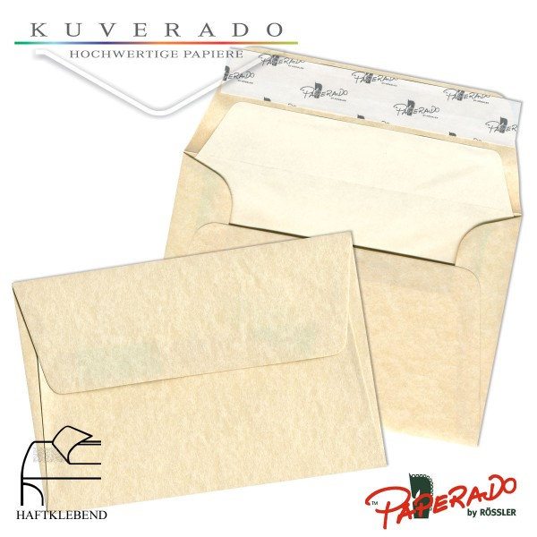 Paperado marmorierte Briefumschläge in beige vellum DIN B6