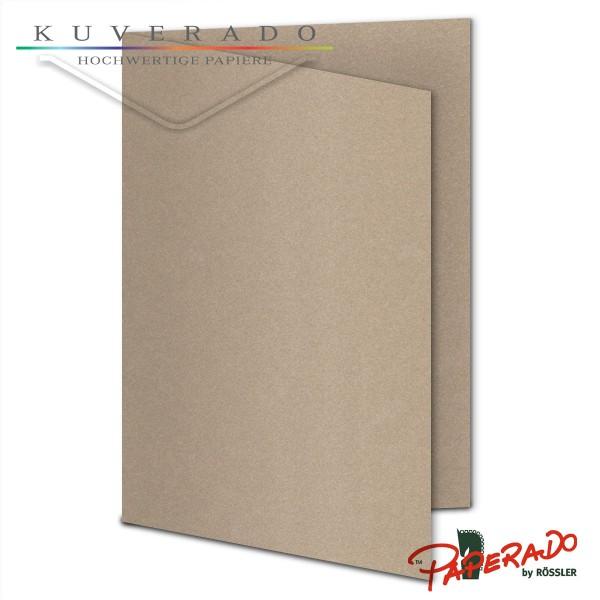 Paperado Karten in taupe grau metallic DIN A6