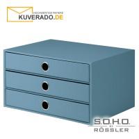 """S.O.H.O. 3er Schubladenbox für DIN A4 in der Farbe """"denim"""""""