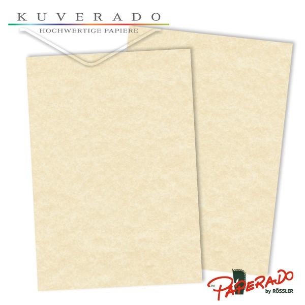 Paperado Briefpapier in vellum beige marmoriert DIN A4 160 g/qm