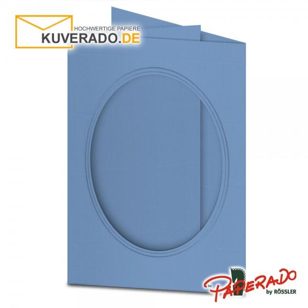 Paperado Passepartoutkarten mit ovalem Ausschnitt in blau DIN B6