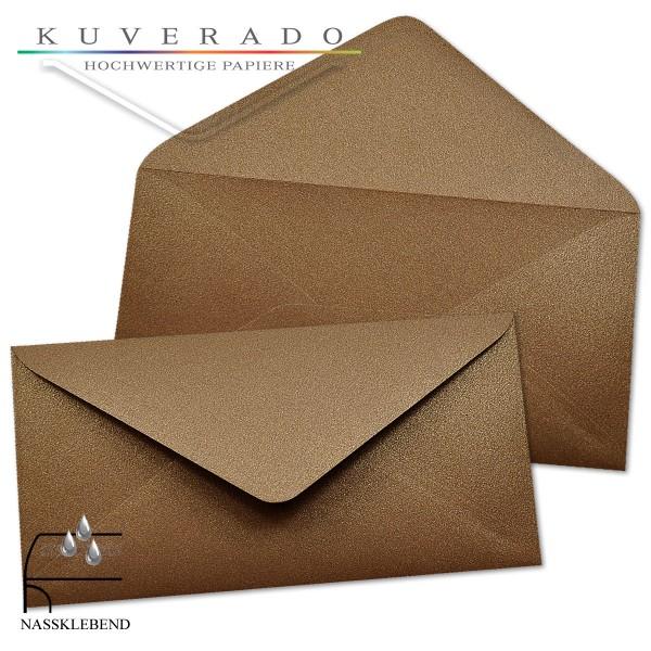 glänzende metallic Briefumschläge in braun im Format DIN lang