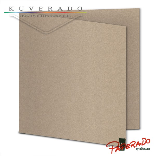 Paperado Karten in taupe grau metallic quadratisch