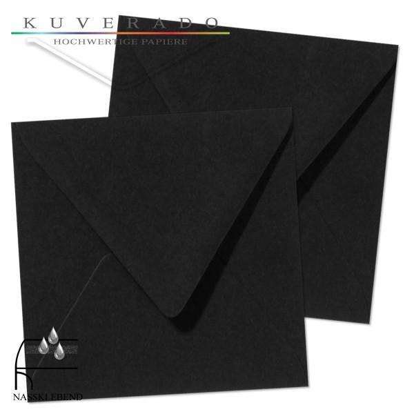 schwarze Briefumschläge im Format quadratisch 160x160 mm