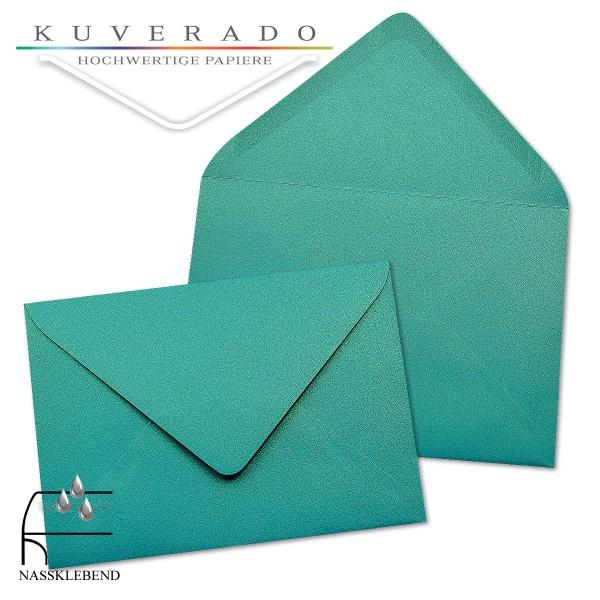 glänzende metallic Briefumschläge in türkis blau im Format 110 x 156 mm