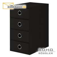 """S.O.H.O. 4er Schubladenbox für DIN A5 in der Farbe """"schwarz"""""""