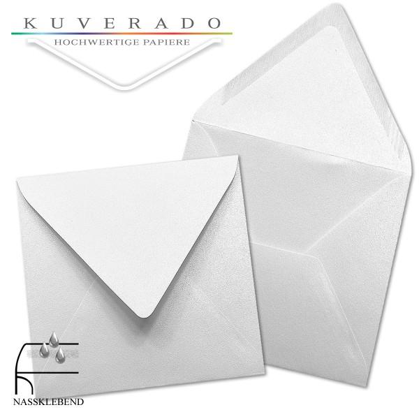 glänzende metallic Briefumschläge in extra weiß im quadratischen Format 140 x 140 mm