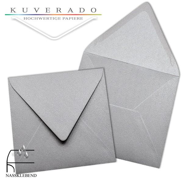 glänzende metallic Briefumschläge in silber im quadratischen Format 140 x 140 mm