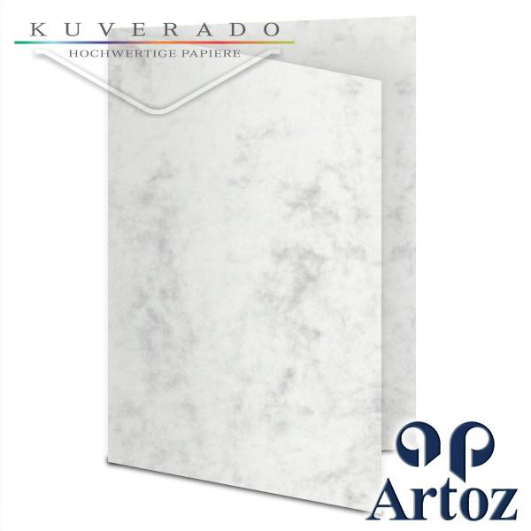 Artoz Antiqua marmorierte Doppelkarten grau DIN A5