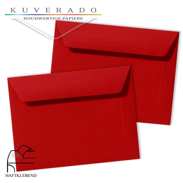 rote Briefumschläge im Format 156 x 220 mm