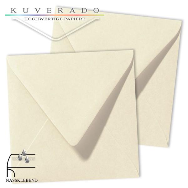 Beige Briefumschläge (Elfenbein) im Format quadratisch 140x140 mm