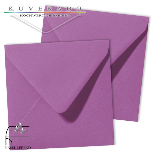 Lila Briefumschläge (violett) im Format quadratisch 120x120 mm