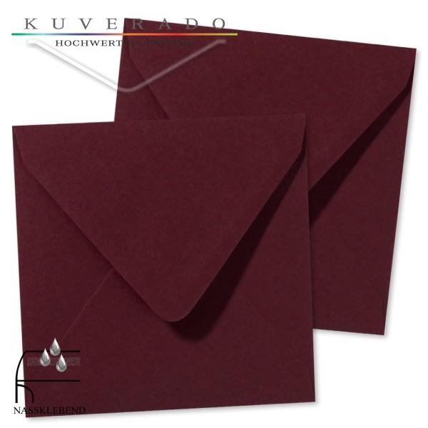 rote Briefumschläge (dunkelrot) im Format quadratisch 120x120 mm