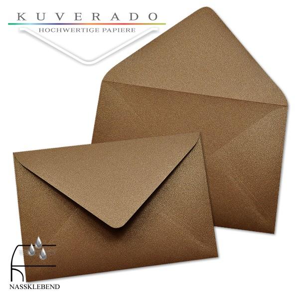glänzende metallic Briefumschläge in braun im Format 120 x 180 mm