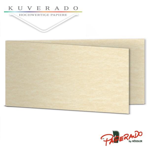 Paperado Karten in beige vellum marmoriert DIN lang Querformat