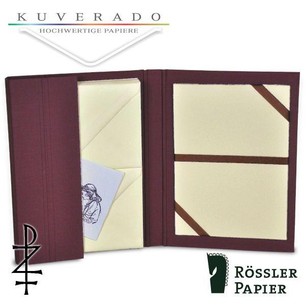bordeaux farbige Briefpapiermappe mit chamois-farbigem Büttenpapier