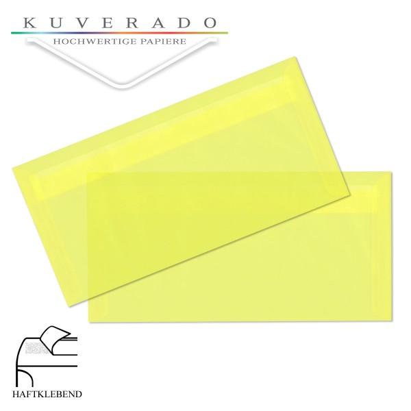 transparente Briefumschläge DIN lang in zitronengelb