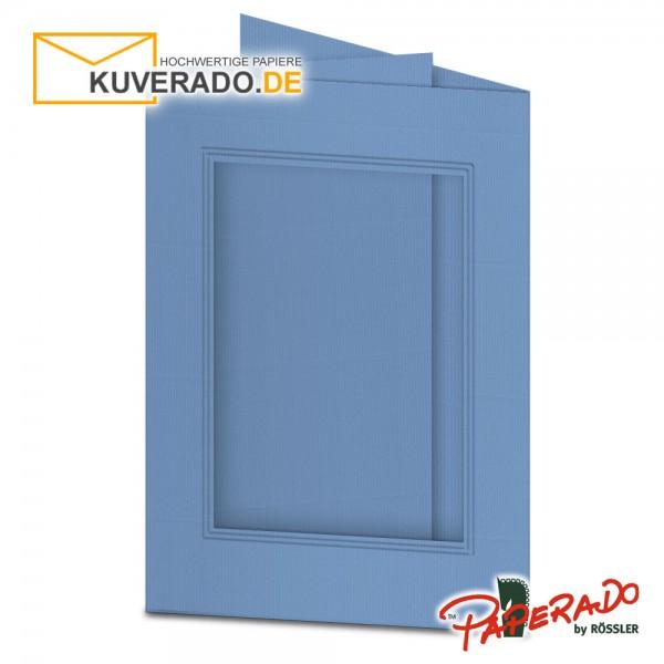 Paperado Passepartoutkarten mit eckigem Ausschnitt in blau DIN B6