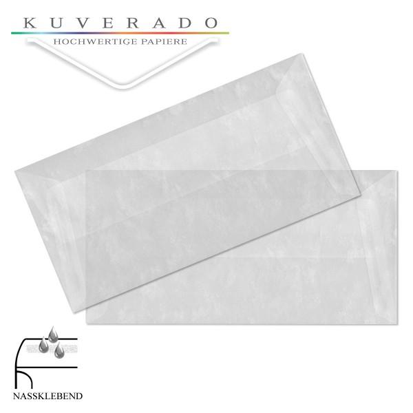 transparente Briefumschläge DIN lang in marmoriert weiß