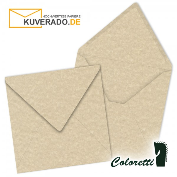 Beige marmorierte Briefumschläge in saharabraun quadratisch von Coloretti