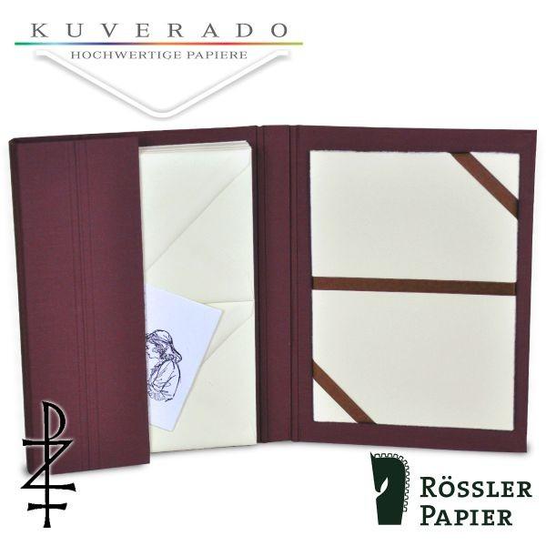 bordeaux-farbige Briefpapiermappe mit natur-weißem Büttenpapier