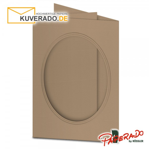 Paperado Passepartoutkarten mit ovalem Ausschnitt in haselnußbraun DIN B6