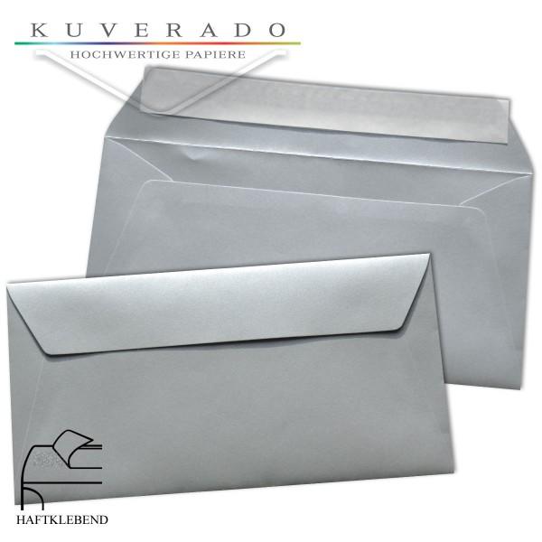 metallic Briefumschläge in silber im Format DIN lang haftklebend