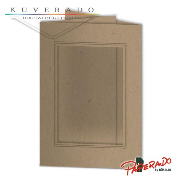 Paperado Passepartoutkarten mit eckigem Ausschnitt aus braunem Kraftpapier DIN B6