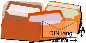 orange Briefumschläge im Format DIN lang