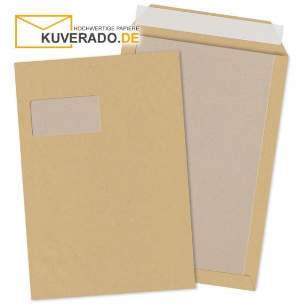 Braune Papprückwandtaschen mit Adressfenster im Format DIN C4 haftklebend
