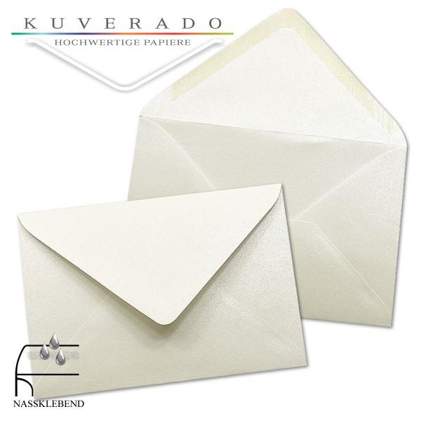 glänzende metallic Briefumschläge in weiß im Format 120 x 180 mm