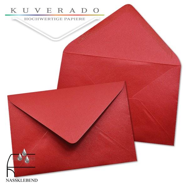 glänzende metallic Briefumschläge in rot im Format 120 x 180 mm