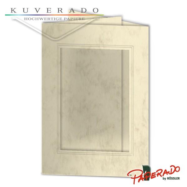 Paperado Passepartoutkarten mit eckigem Ausschnitt in chamois marmoriert DIN B6