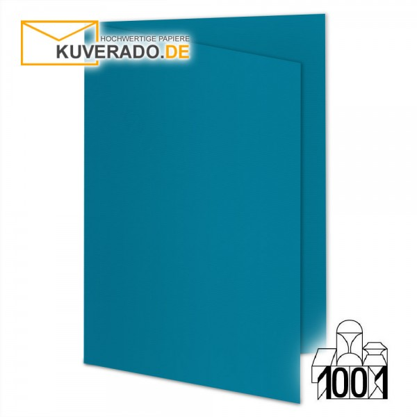 Artoz 1001 Faltkarten petrolblau DIN A6 mit Wasserzeichen