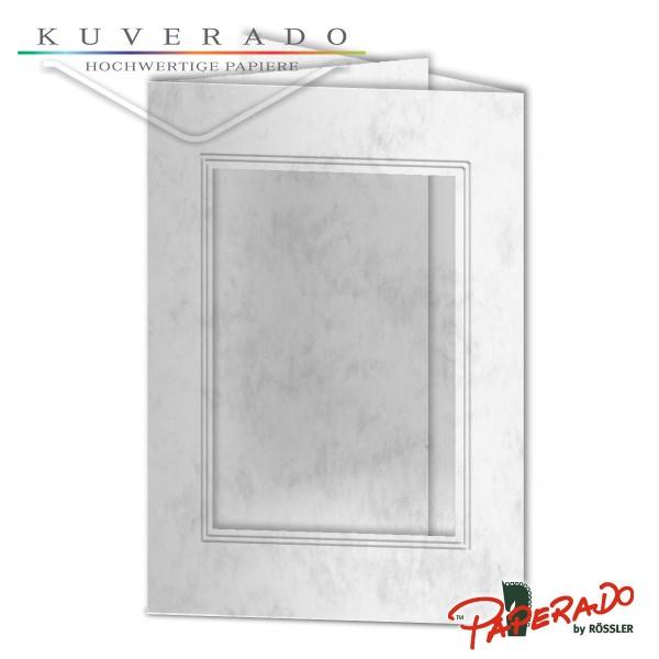 Paperado Passepartoutkarten mit eckigem Ausschnitt in grau marmoriert DIN B6