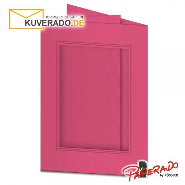 Paperado Passepartoutkarten mit eckigem Ausschnitt in fuchsia-rosa DIN B6