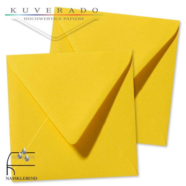 gelbe Briefumschläge im Format quadratisch 160x160 mm
